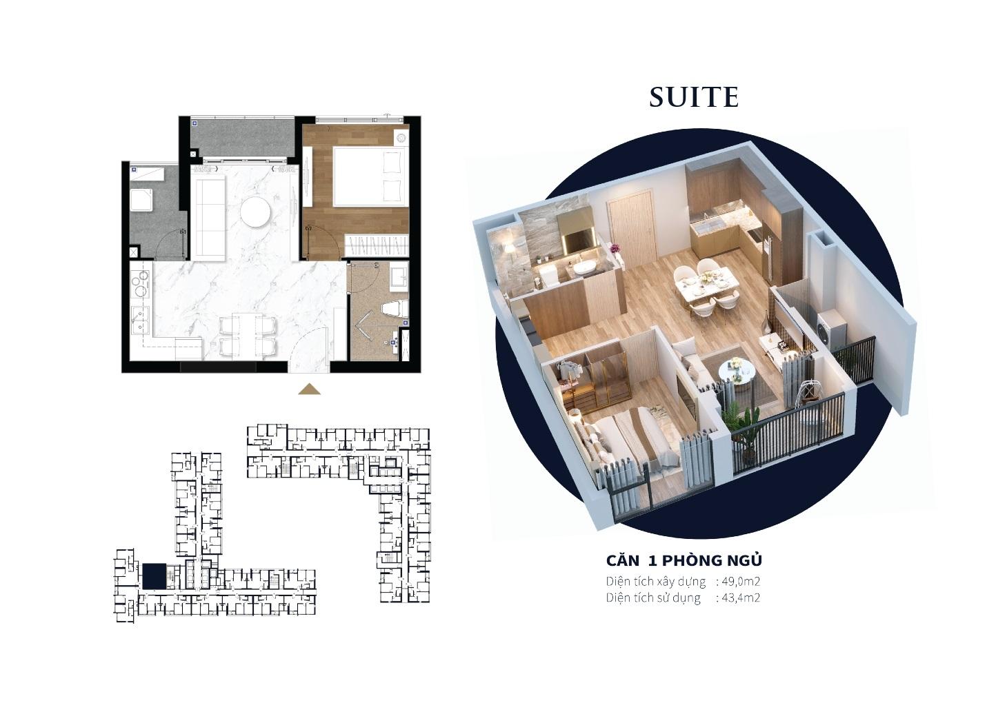 Thiết kế căn hộ 1 Phòng Ngủ dự án Happy One Central Bình Dương