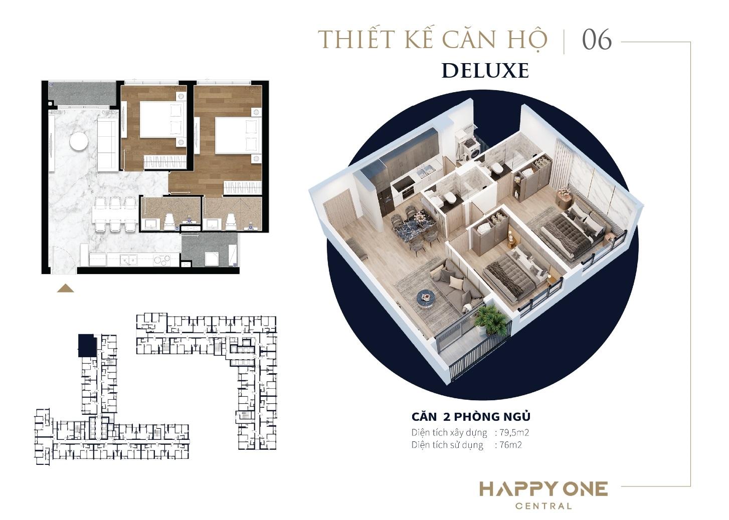 Thiết kế căn hộ 2 Phòng Ngủ dự án Happy One Central Bình Dương