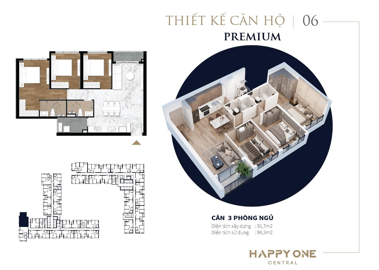 Thiết kế căn hộ 3 Phòng Ngủ dự án Happy One Central Bình Dương